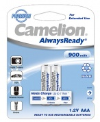Аккумулятор CAMELION, AlwaysReady Rechargeable, NH-AAA900ARBP2, тип AAA, 1.2V, 900 mAh (блистер2 шт)